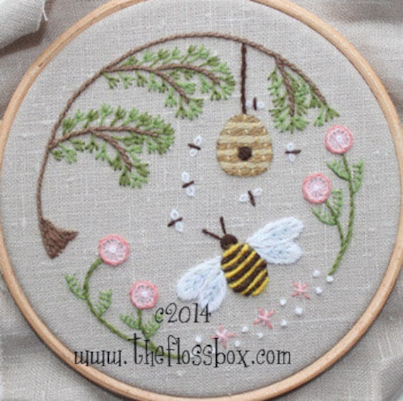 Bees World Crewel Embroidery Pattern Etsy