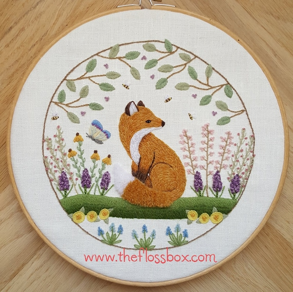 Fox In The Flowers Crewel Embroidery Pattern Etsy