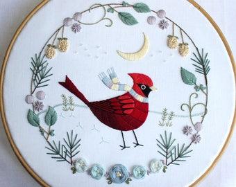 Winter Cardinal Embroidery Pattern