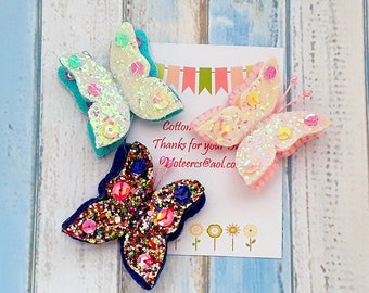 Butterfly hair clips, Set of 3 Glitter Butterfly hair clips, butterflies Free Uk Shipping
