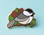 Chickadee Bird Hard Enamel Pin - Outdorables Lapel or Hat Cloisonne Brooch