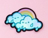 Rainbow Rain Cloud Holographic Holo Stickers - 3 inch Indoor/Outdoor Die Cut