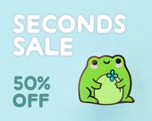 SECONDS SALE: Green Frog Hard Enamel Pin (B-grade, Imperfect) Half Price
