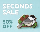 SECONDS SALE: Chickadee Bird Hard Enamel Pin (B-grade, Imperfect) Half Price