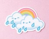 Rainbow Rain Cloud Vinyl Decal Stickers - 3 inch Indoor/Outdoor Die Cut
