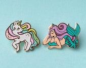Set of Two Hard Enamel Lapel Pins - Mermaid and Unicorn Pastel Hat Pin