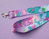 Cute Pastel Mermaid Lanyard for keys or ID badge holder