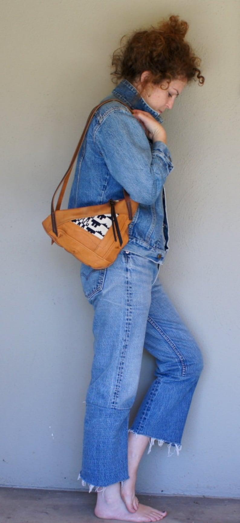 NEW Mini Triangle Textile and Leather Tote