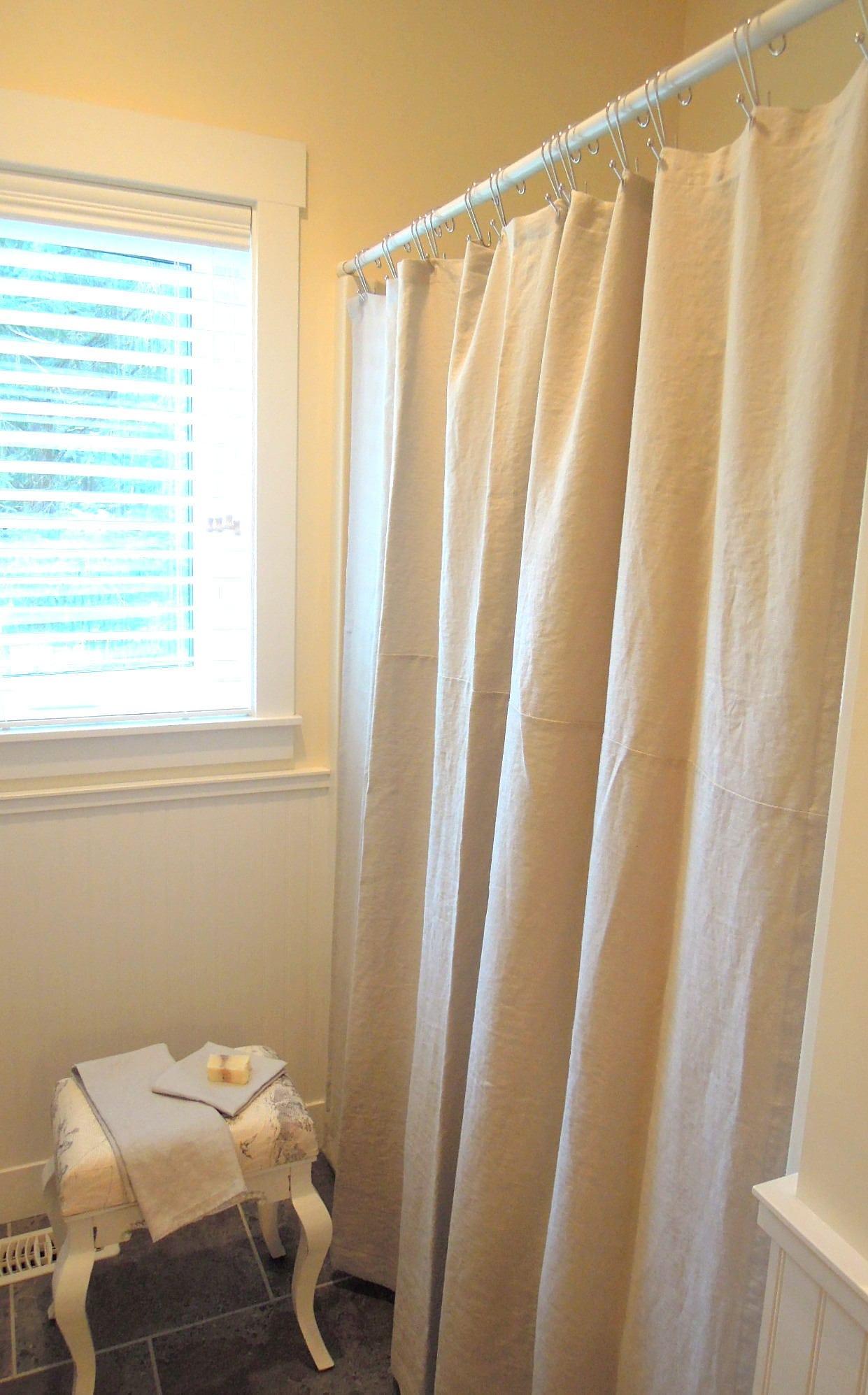 Ready Made Linen Shower Curtain White Linen Shower Curtain Ivory Grey Linen Shower Curtain Oatmeal Shower Curtain Navy 72x72