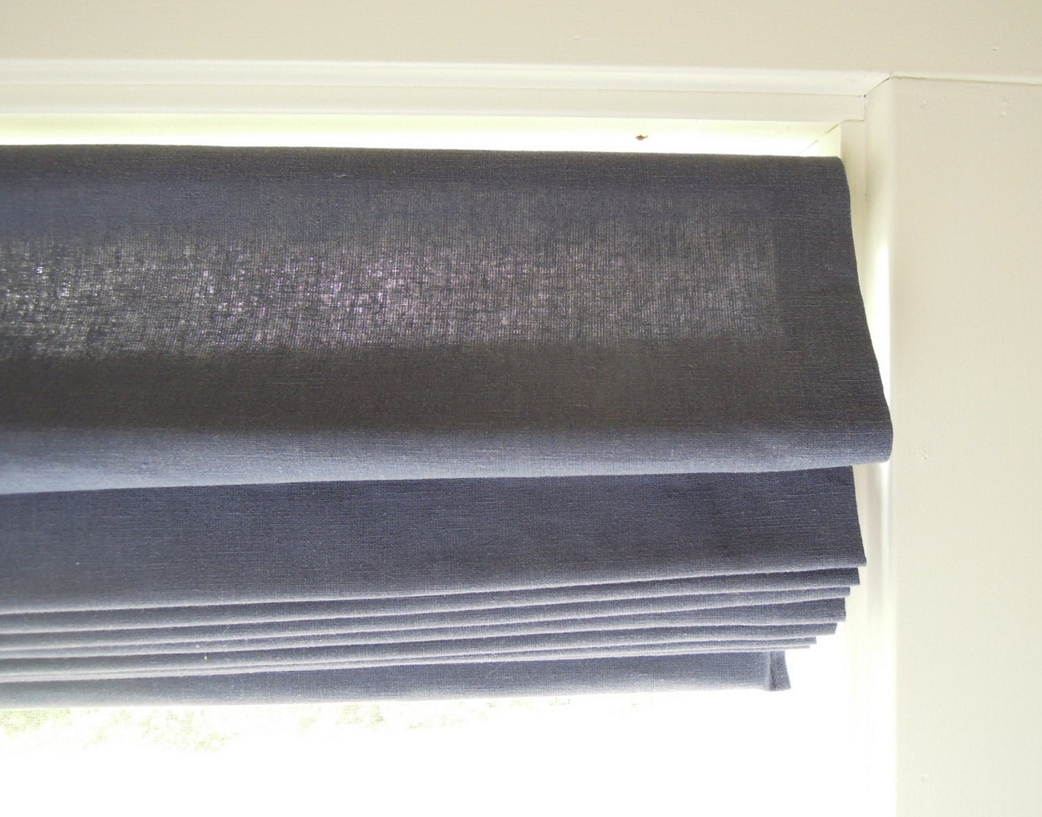 Ready Made Classic Roman Shade Window Hemp Cotton Indigo