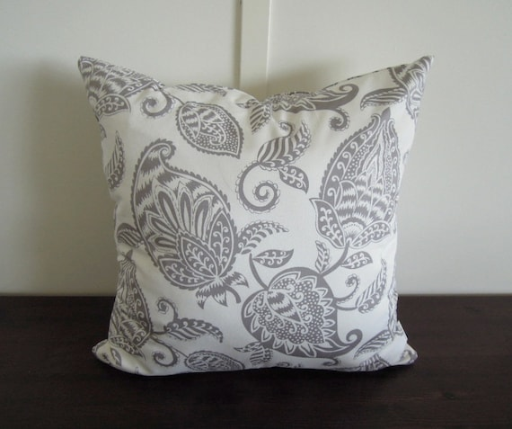 Gray Botanical Pillow Covers 40x40 Grey And White Pillow Etsy Best Etsy Pillow Covers 20x20