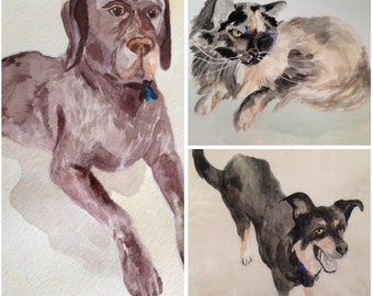 Custom Pet Portrait Watercolor