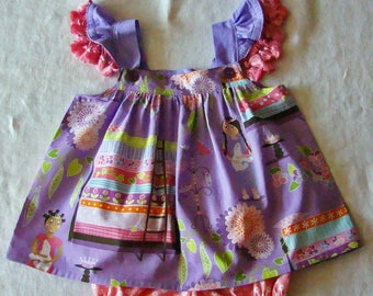 12M Princess & the Pea Dress with Diaper Cover READY to Ship Flutter Sleeve dress with tassels