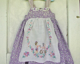 3T Violet Summer Dress Vintage Hand Embroidered Apron Girl Doll Bunny in the Daisies  Back Bow  READY to SHIP