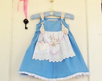 Alice in Wonderland Dress Lace Key & Drink Me Bottle for Make Believe Apron Knot Dress