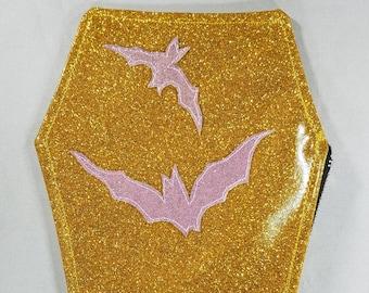COIN PURSE Dark pink matte metalflake vinyl with blue bats