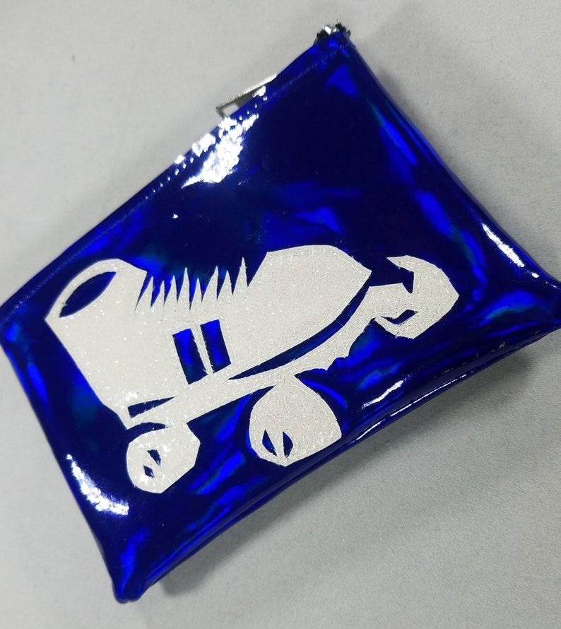 COIN PURSE Dark Blue Hologram Vinyl with White Irridescent Roller Skate