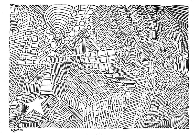 Kleurplaten Voor Volwassenen Zebra.Ster 3 Abstract Ster 3 Kleurplaat Volwassene Kleurplaat Etsy