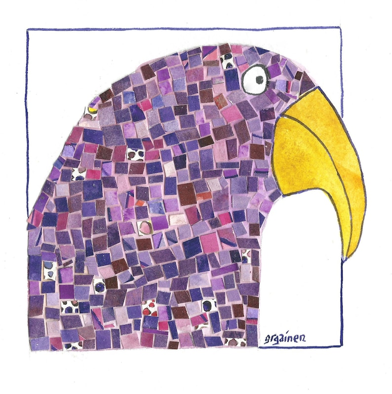 Parrot Art Purple Parrot Art Purple Mosaic Parrot Purple image 0