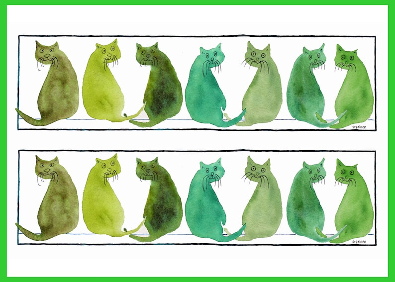 Cards Cat Cards Three Green Cat Cards Card Set Cats image 0