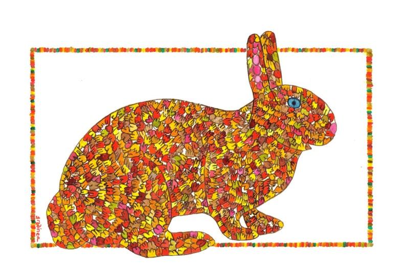 Rabbit Rabbit Art Bunny Print Orange Bunny Great Leafy image 0