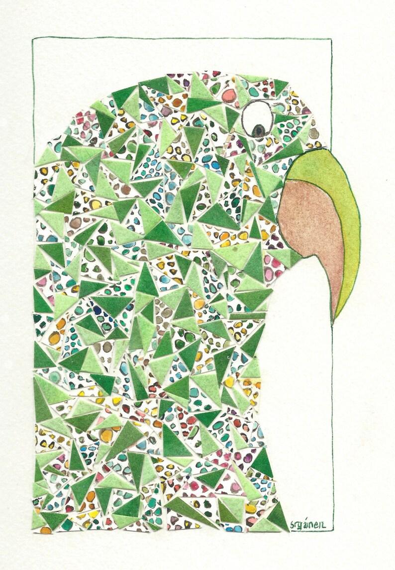 Parrot Parrot Art Green Parrot Green Whimsical Parrot image 0