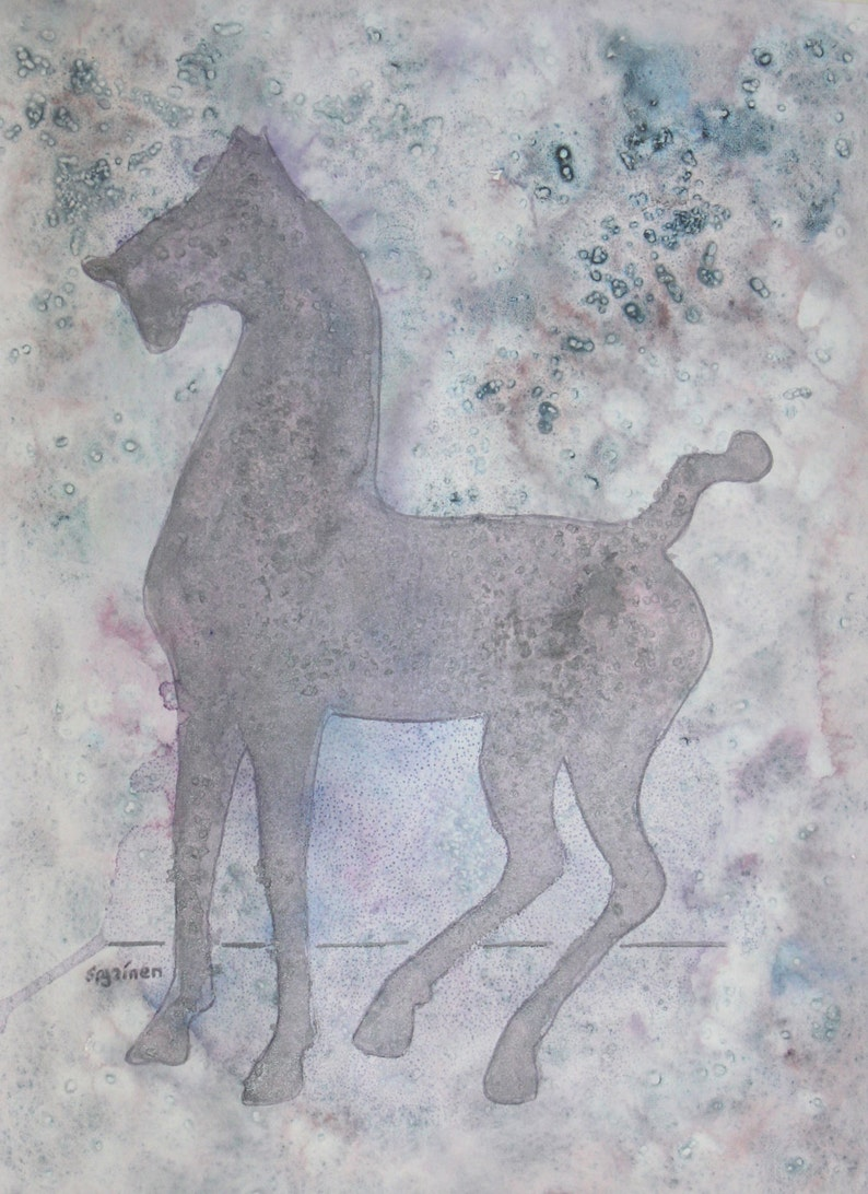 Horse print Ghost Horse Print Whimsical Horse Print Chinese image 0