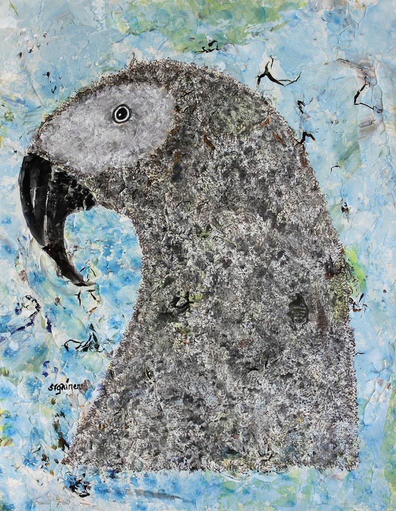 Parrot Art Gray Parrot Gray Parrot Print Gray Cave Parrot: image 0