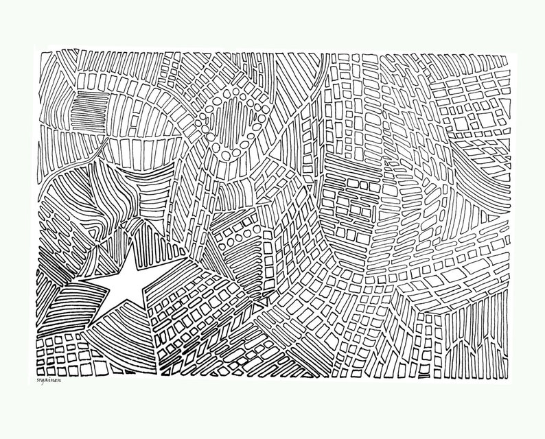 Kleurplaten Ruimtestation.Volwassene Kleurplaat Star 4 Abstract Abstracte Buurt Etsy
