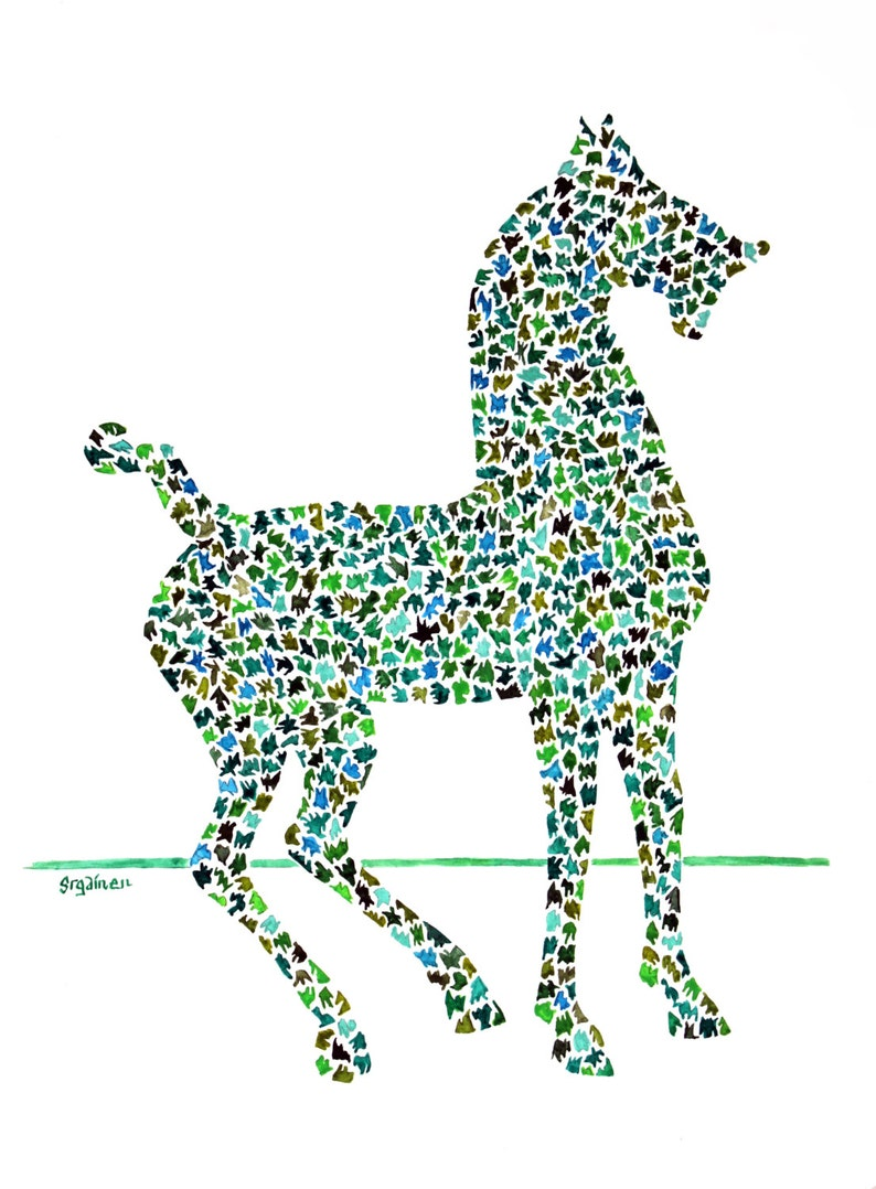 Horse Horse Art Chinese Horse Puzzle Pieces Horse print of image 0