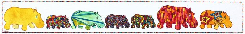 Hippos Hippo Art Hippos Marching 7 Hippos Marching Hippo image 0