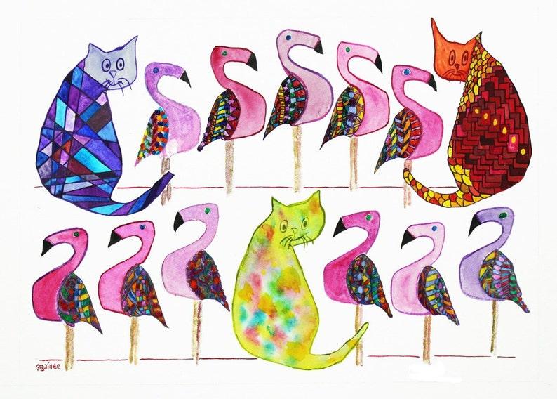 Cats Cat Art Flamingos Flamingo Art Bird Art 3 Cats & 11 image 0
