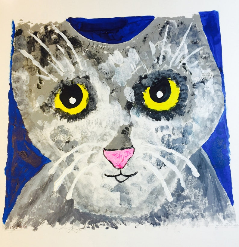 Cat Portrait Pinky the First: print from the Clowder of Cats image 0