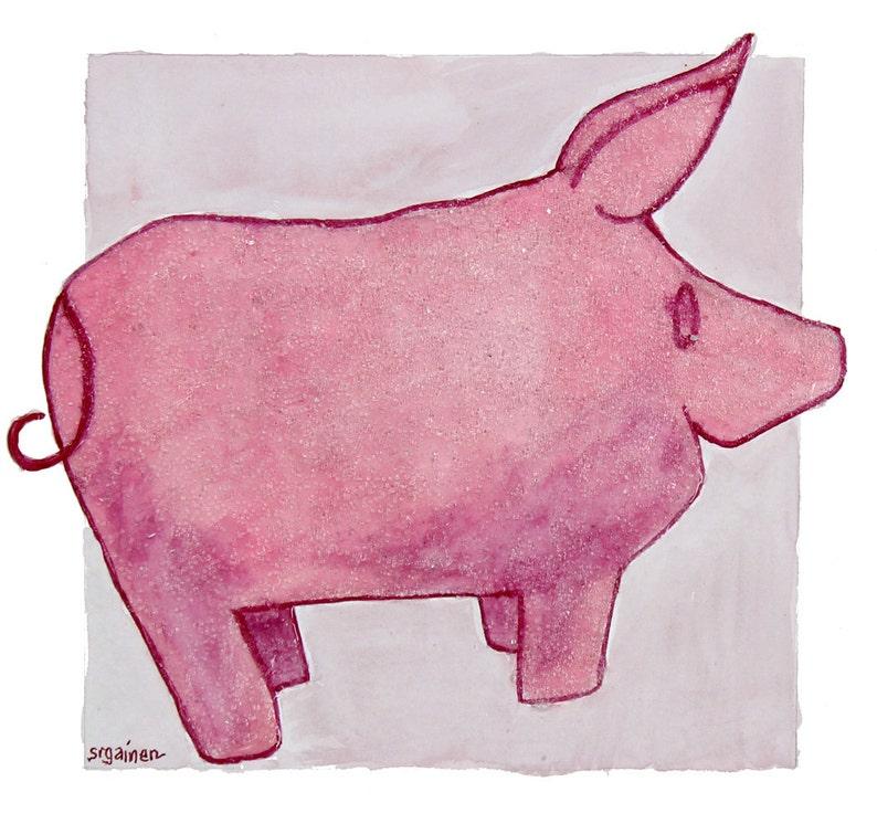 Pig Pig Art Pink Pig Pink Pig Art Beaded Pig Pink Beaded image 0