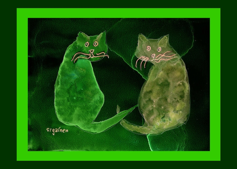 Cat Print Cat Card Hyperspace Cats Two Mischief Cats from image 0