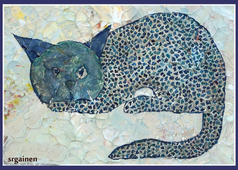 Cat Card Blue Cat Card Cat Greeting Card Blue Cat from the image 0