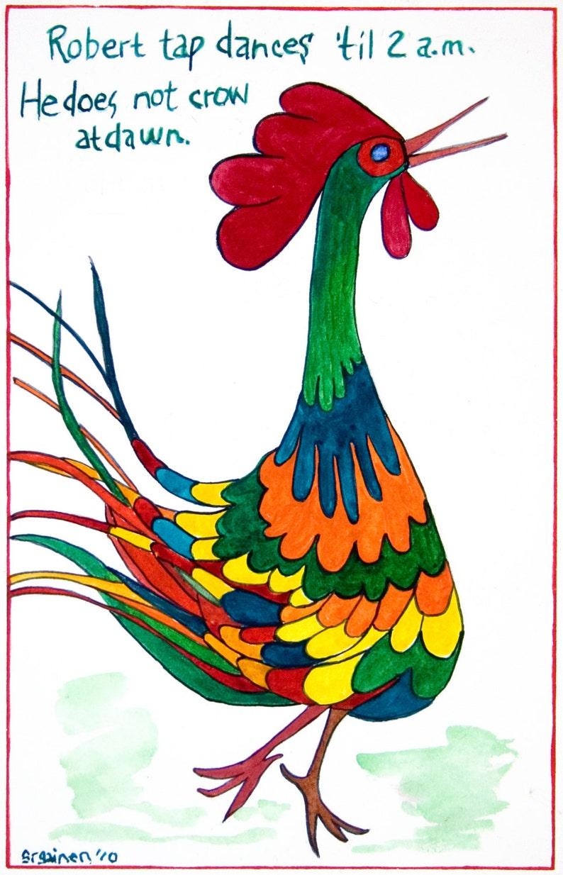 Bird Print Rooste Rooster Print Dancing Rooster Robert the image 0
