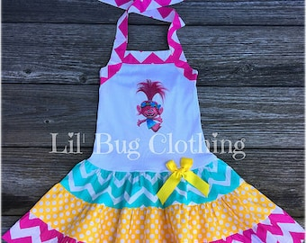Poppy Troll Dress, Poppy Troll Birthday Party Dress, Poppy Troll Birthday Party Outfit, Spring Girl Dress