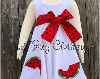 Watermelon Girls Dress, Summer Girl Watermelon Dress, Summer Girl Watermelon Dress, Comfy Knit Watermelon Dress, White Knit Girl Dress