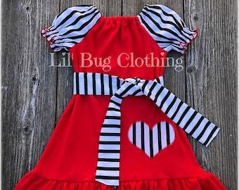 b0d13f936 Valentines Day Girl Dress, Black White Stripe Valentines Day Knit Dress,  Cute Valentines Day girl clothes