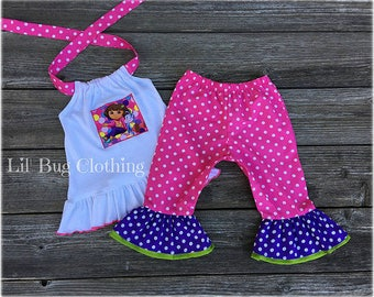 5f804048 Dora the Explorer Outfit- Dora The Explorer Capris & Halter Top Summer  Outfit- Dora The Explorer Birthday Party Outfit