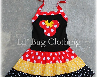 f45f9bf3 Minnie Mouse Red & Yellow Dress, Minnie Mouse Outfit, Minnie Mouse Birthday  Party Dress, Minnie Mouse Girl Clothes
