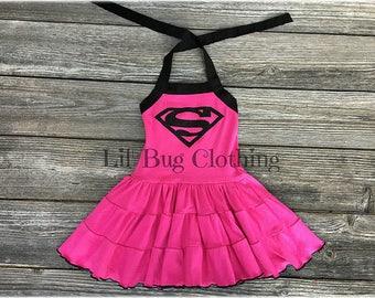 Superhero Supergirl Black And Hot Pink BIrthday Lettuce Edge Halter Summer Dress & Supergirl costume | Etsy
