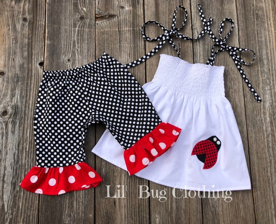 BOUTIQUE GIRL//TODDLER//BABY LADY BUG W// GREEN OR BLACK BODY HAIRBOW 2T 3T 4T 5T