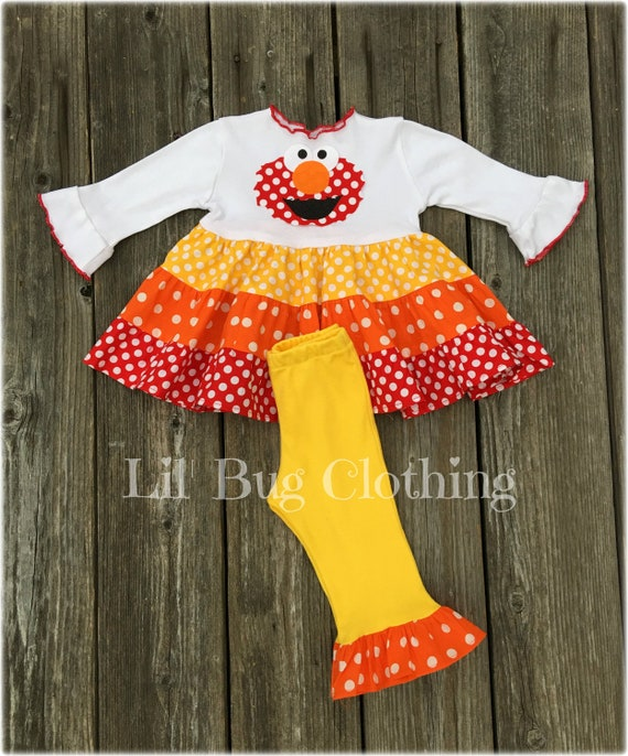 Elmo Dress Elmo Birthday Party Girl Outfit Red Yellow Orange  85a6f5bb4