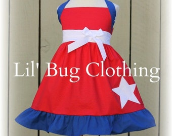 Sizes 6, 8, ONLY, 4th Of July Girls Dress, 4th Of July Pageant Dress, 4th Of July Red White Blue Dress, Boutique Girl 4th Of July Dress