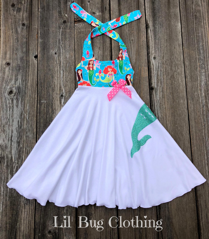 Mermaid Tail Girl Dress Mermaid Birthday Girl Dress Mermaid Tail Mermaid Birthday Party Dress