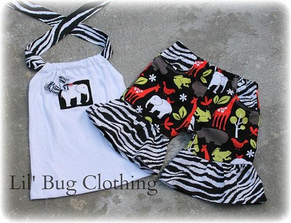 Custom Boutique Girl Zoo animal Elephant Cocoa Zebra Giraffe Pocket Short and Halter Top
