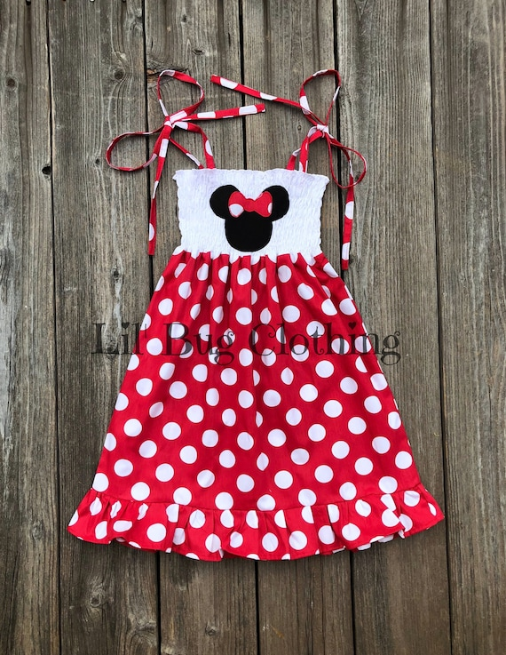 63b3afe4b31 Red White Polka Dot Minnie Mouse Dress Minnie Mouse Smocked
