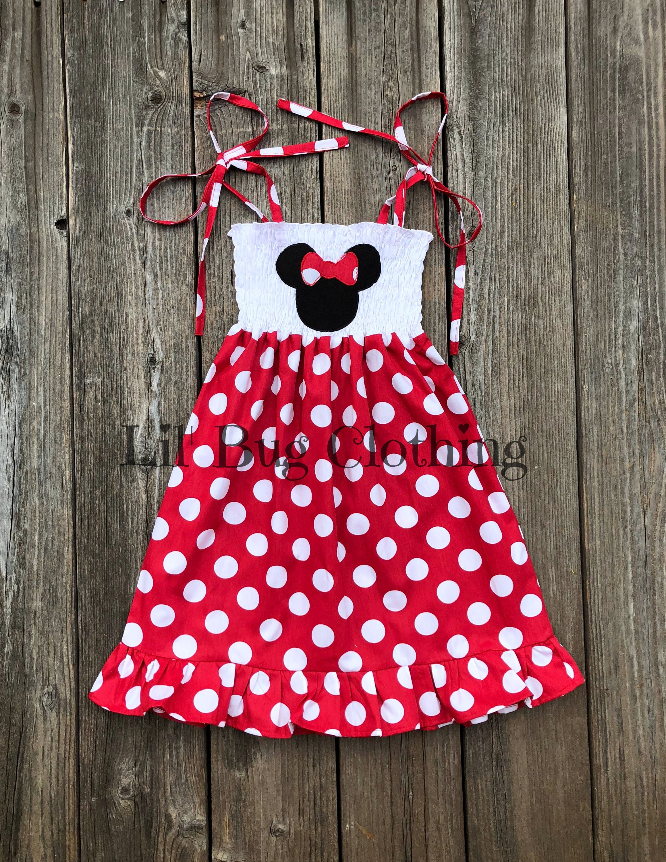 2f96418ba Red White Polka Dot Minnie Mouse Dress Minnie Mouse Smocked | Etsy